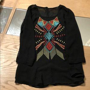 Tops - Women's printed chiffon quarter length shirt